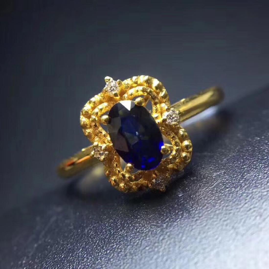 0.50 CTW Sapphire & VS Diamond Ring 18K - 8