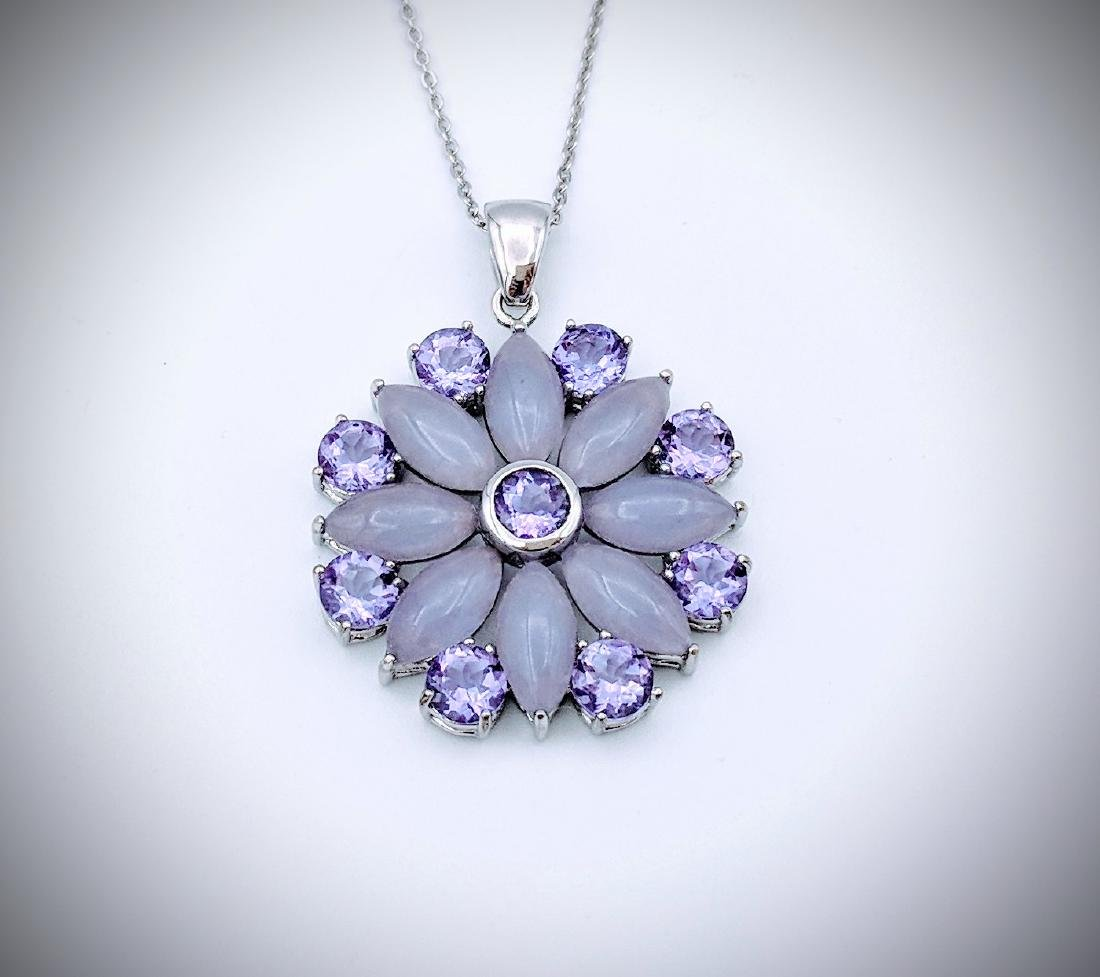 Sterling Silver Necklace and Pendant with Violet Jade,