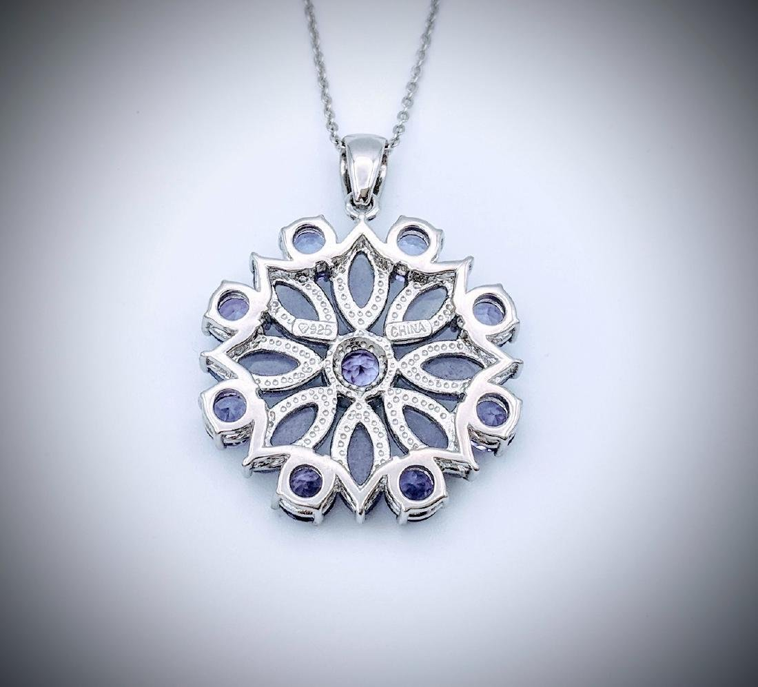 Sterling Silver Necklace and Pendant with Violet Jade, - 2