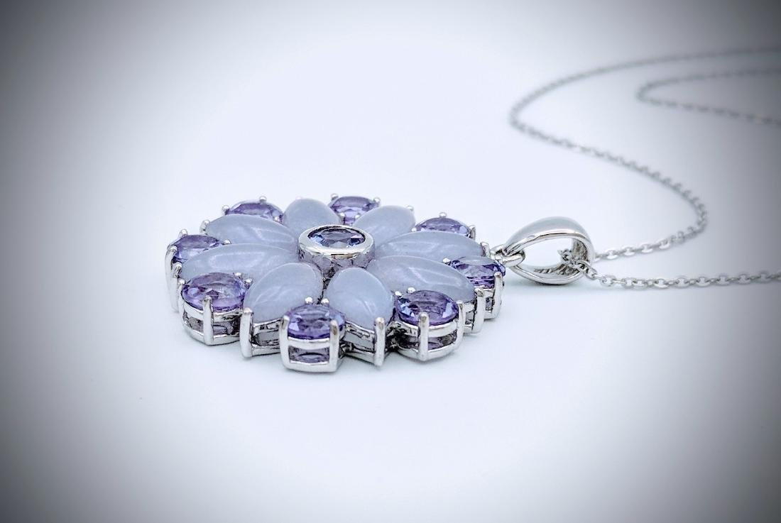 Sterling Silver Necklace and Pendant with Violet Jade, - 3