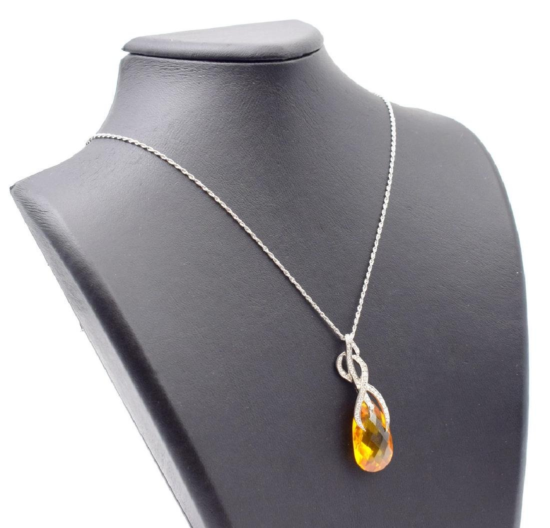 18 carat yellow gold necklace with Citrine  pendant - 2