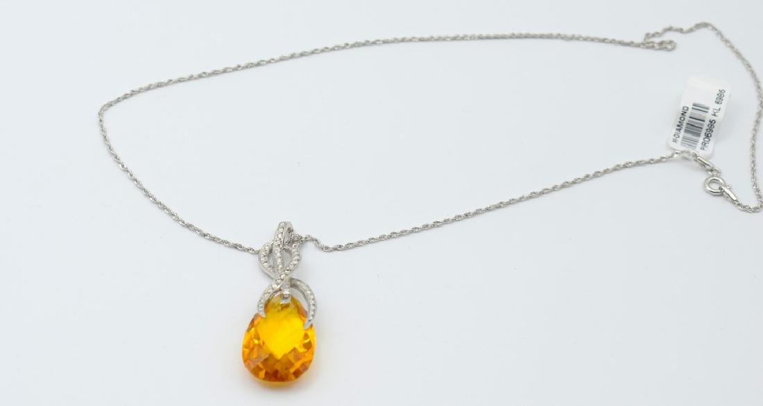 18 carat yellow gold necklace with Citrine  pendant - 5