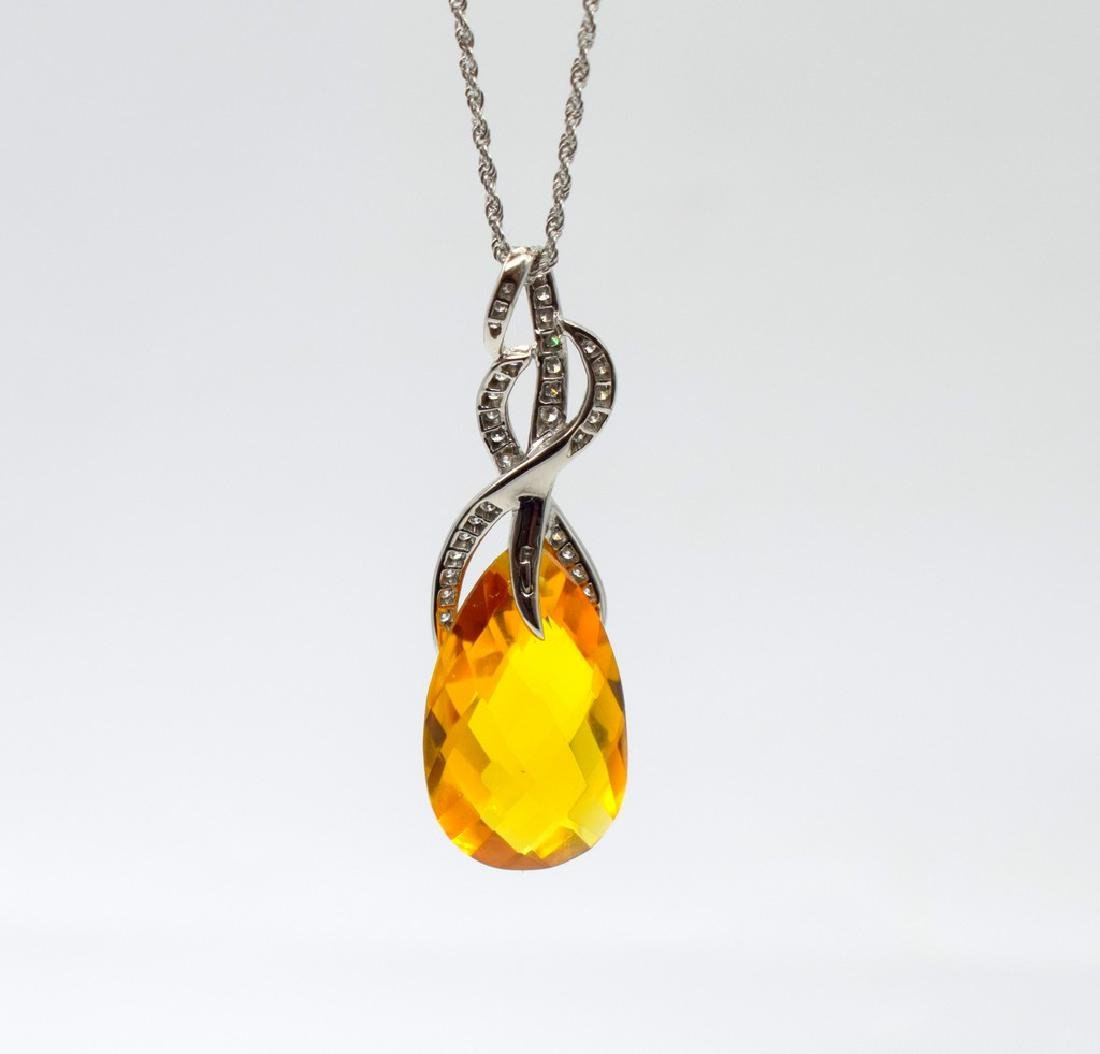 18 carat yellow gold necklace with Citrine  pendant - 6