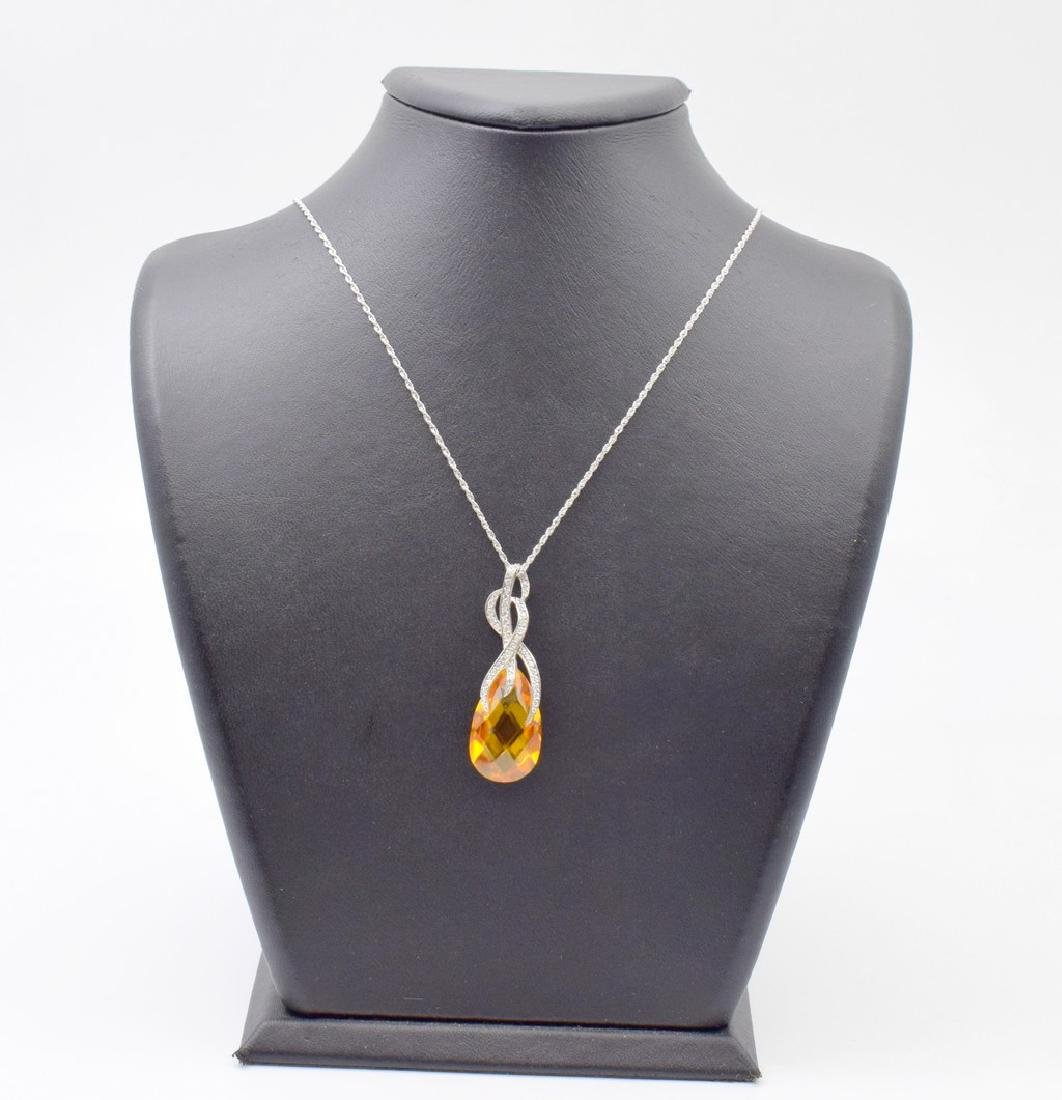 18 carat yellow gold necklace with Citrine  pendant - 7