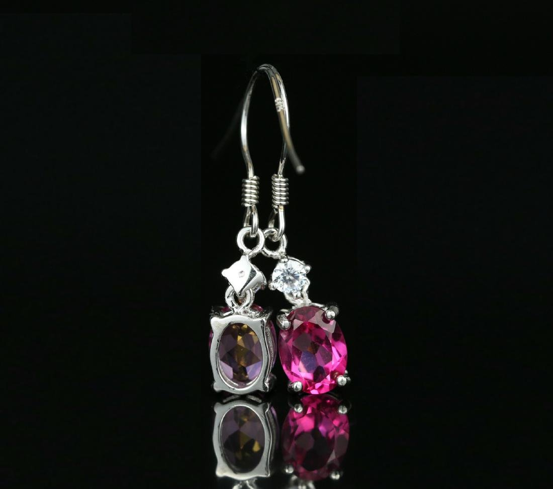 925 silver earring with pink Topaz 4.0ct. - 4