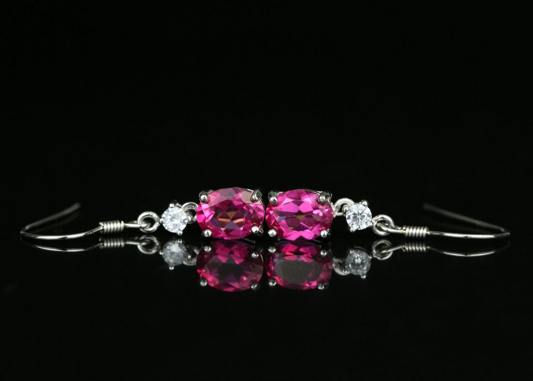 925 silver earring with pink Topaz 4.0ct. - 5