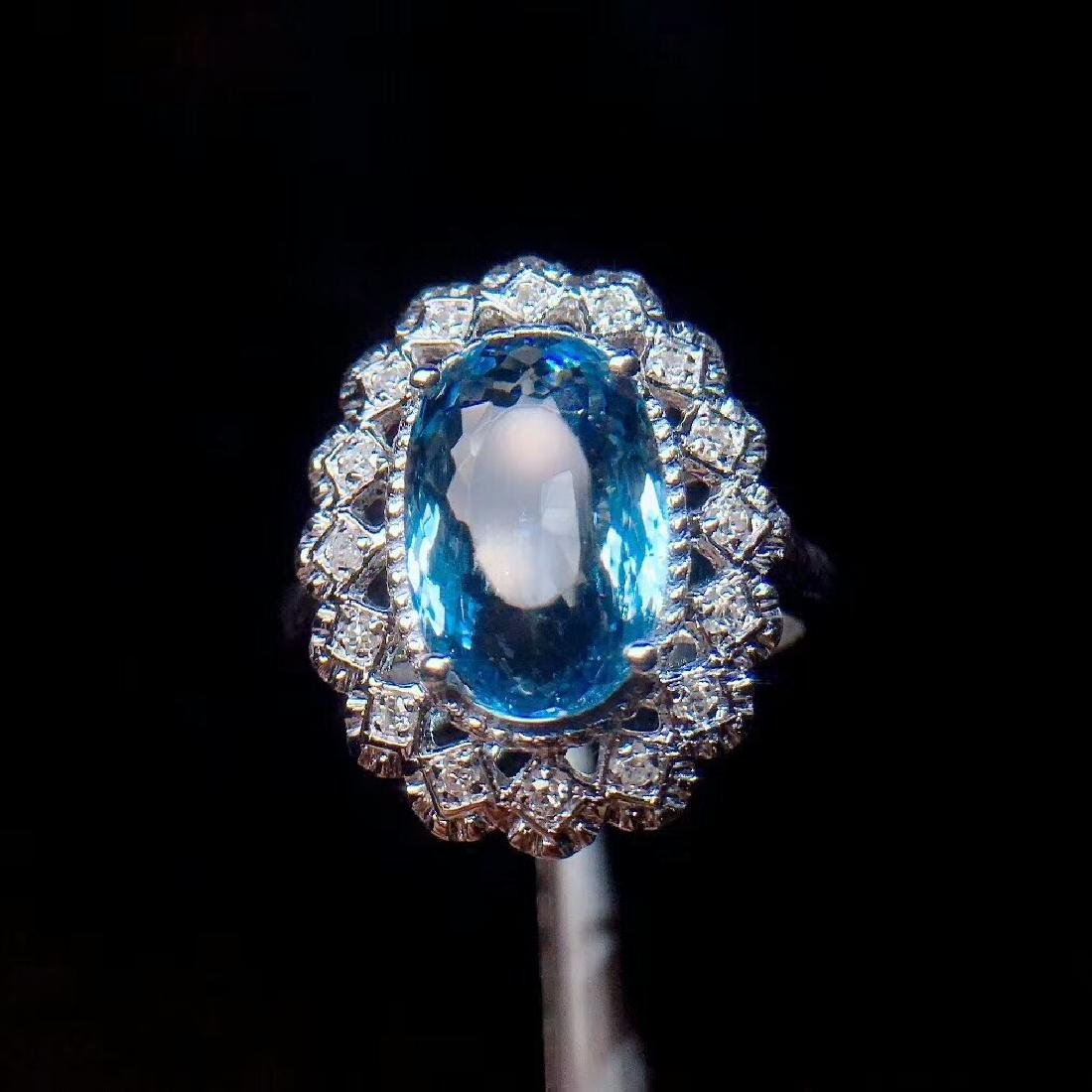 4ct Aquamarine Ring in 18kt White Gold