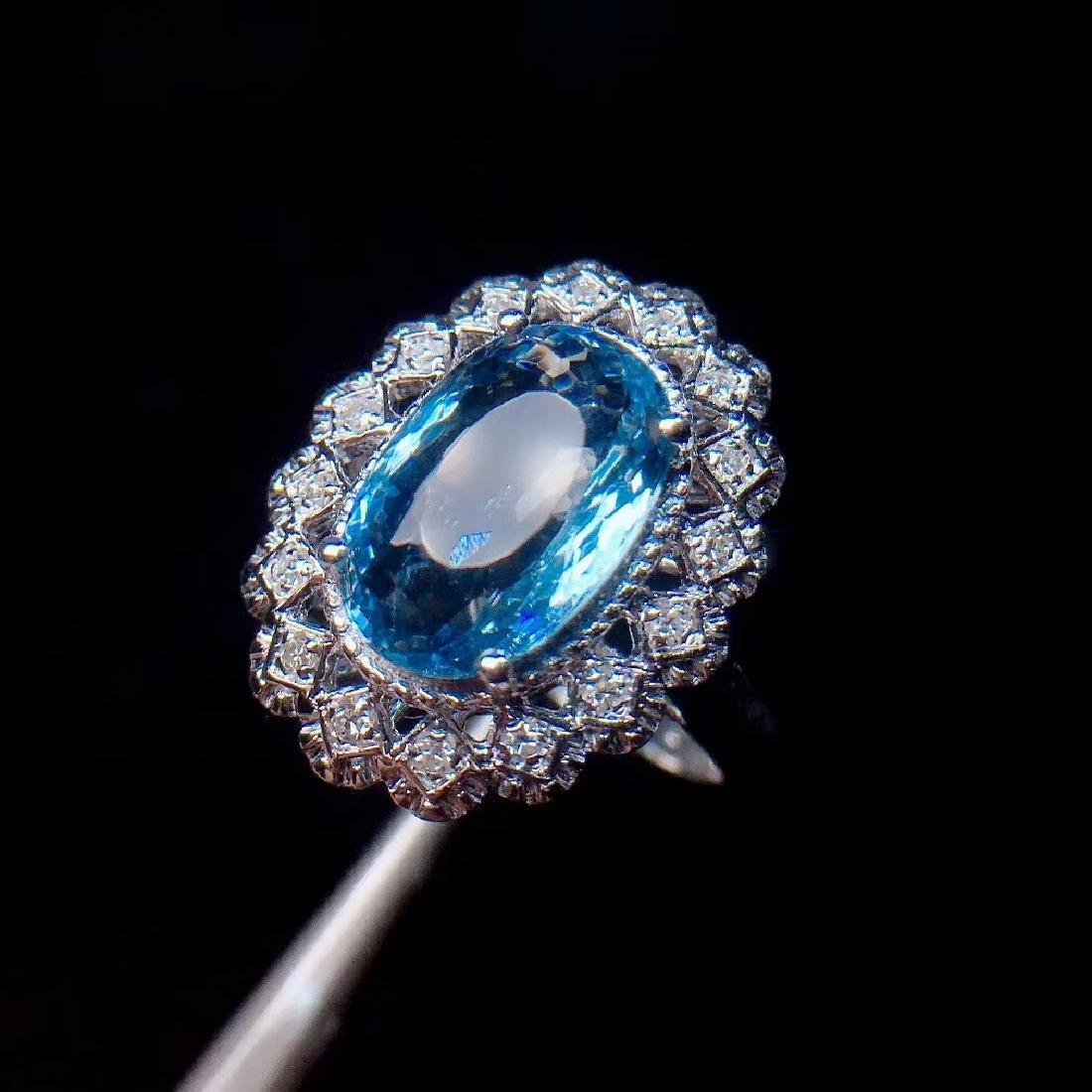 4ct Aquamarine Ring in 18kt White Gold - 3