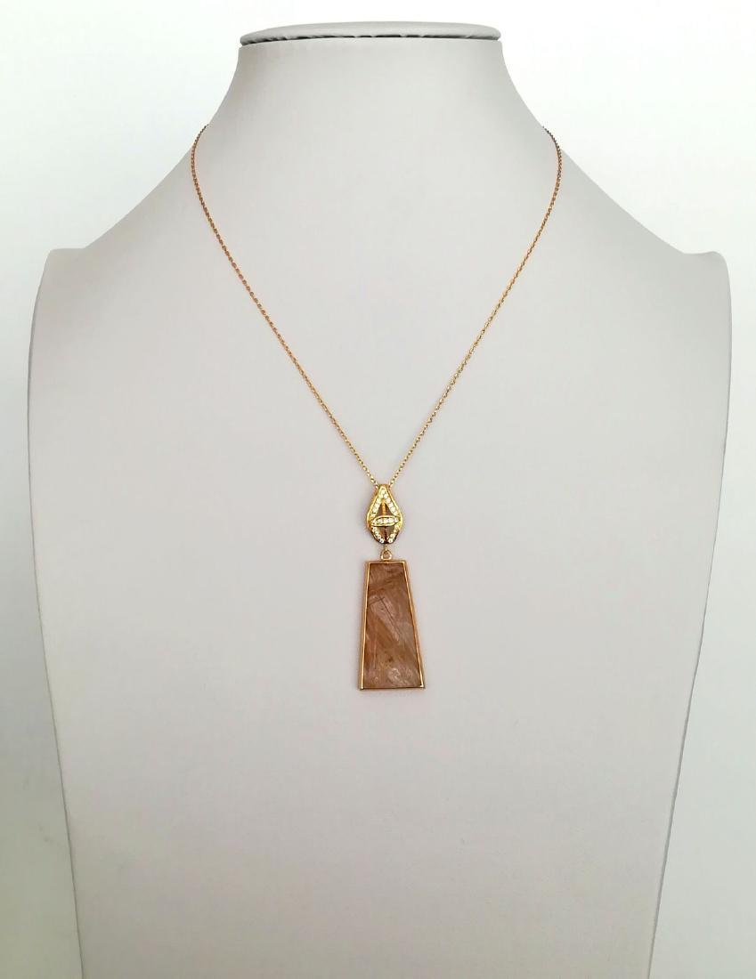 19.2 carats with gold pendant with rutilated quartz - 2