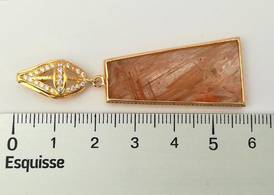 19.2 carats with gold pendant with rutilated quartz - 3
