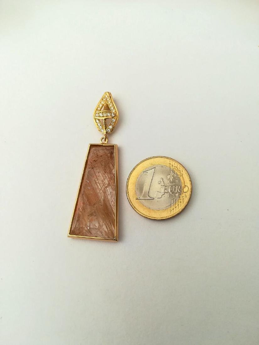 19.2 carats with gold pendant with rutilated quartz - 5