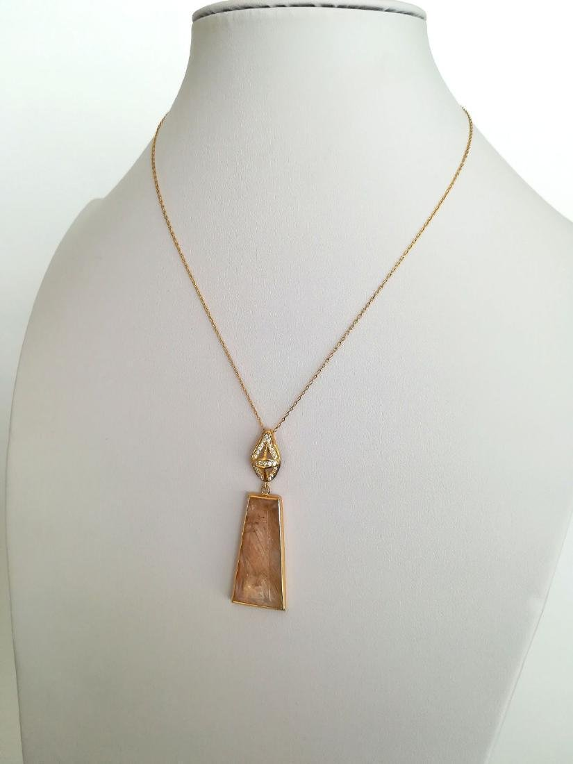 19.2 carats with gold pendant with rutilated quartz - 8