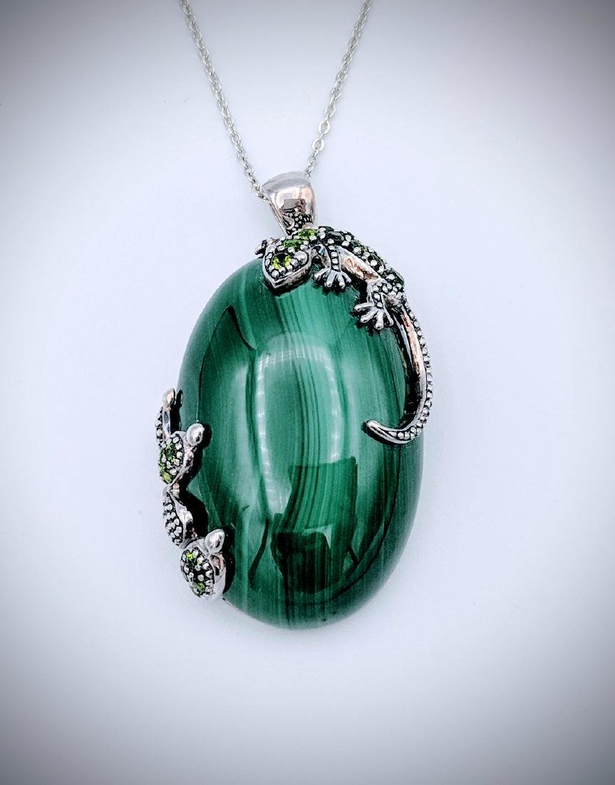 Sterling Silver Necklace and Malachite with Lizard and