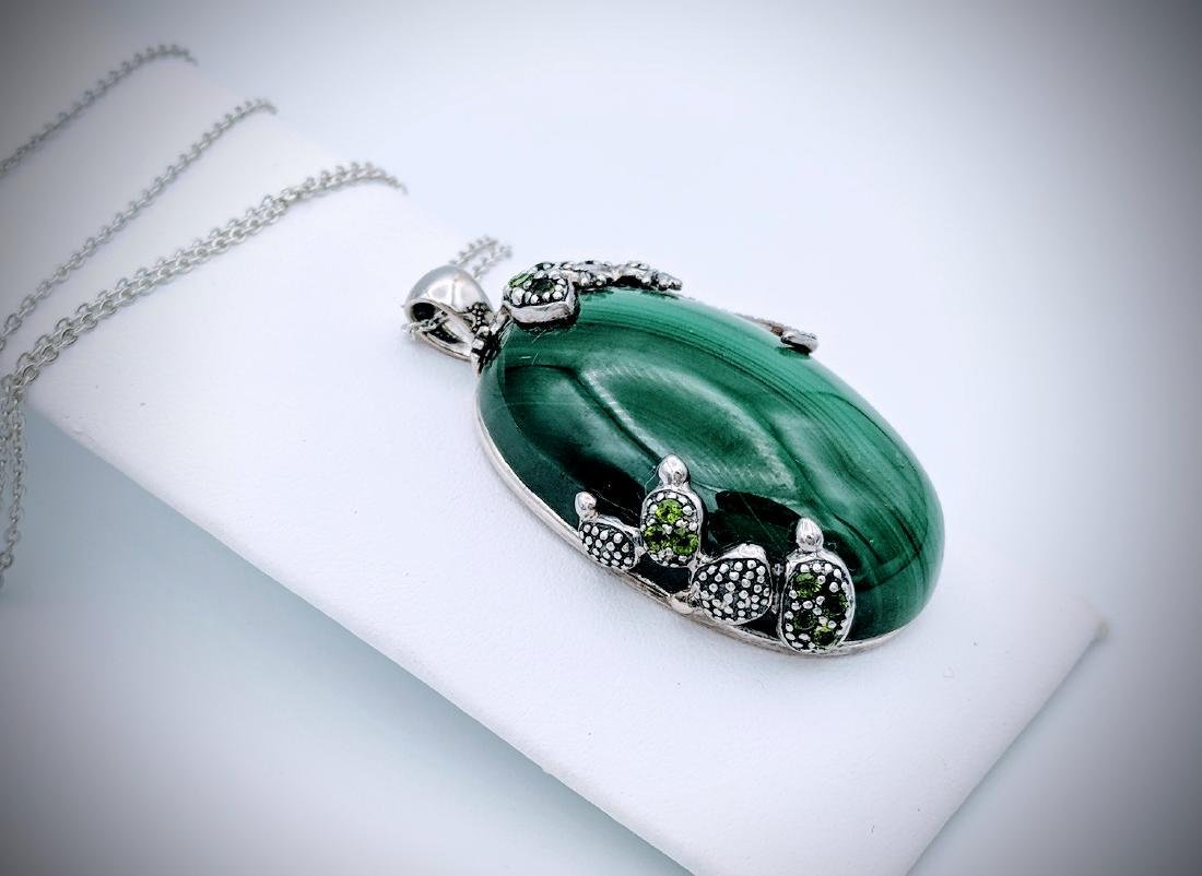 Sterling Silver Necklace and Malachite with Lizard and - 2