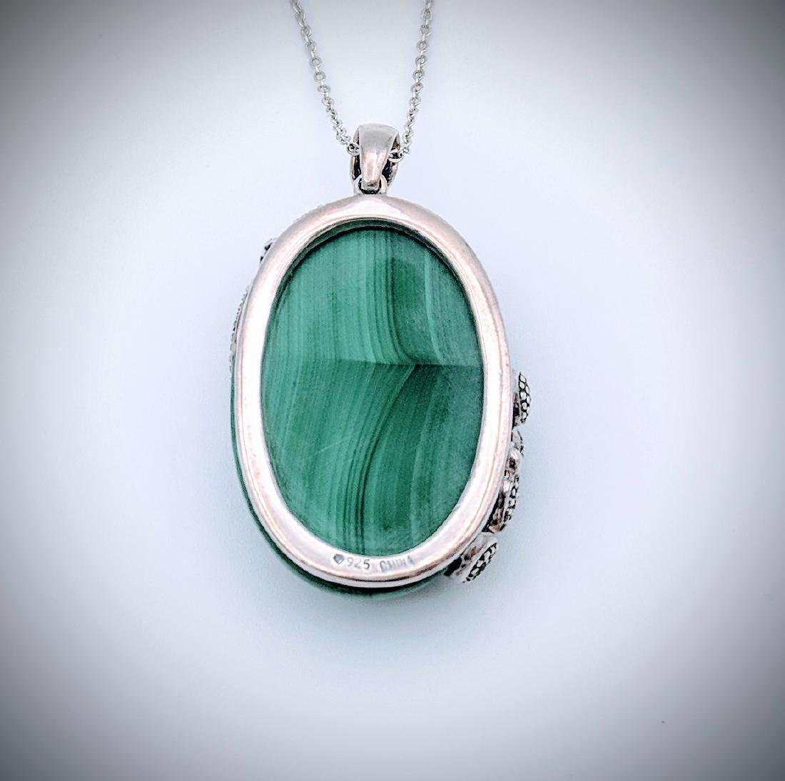 Sterling Silver Necklace and Malachite with Lizard and - 3