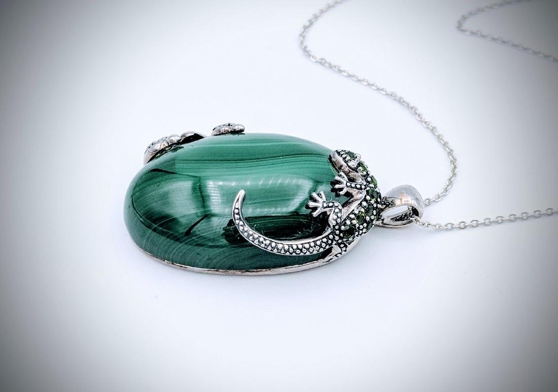 Sterling Silver Necklace and Malachite with Lizard and - 4