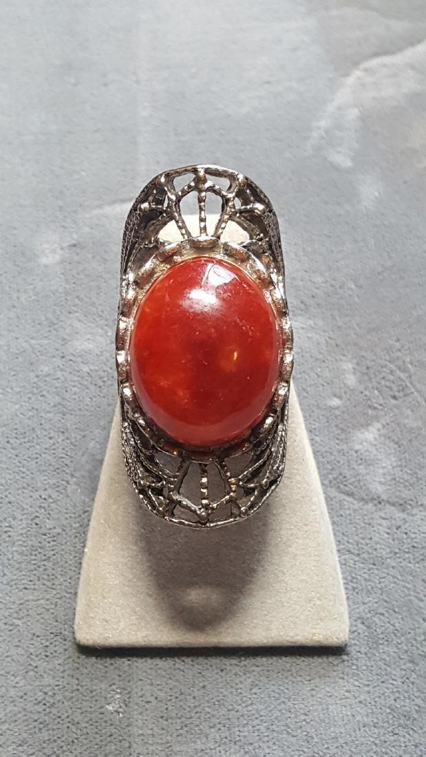 Vtg Carnelian Knuckle Ring