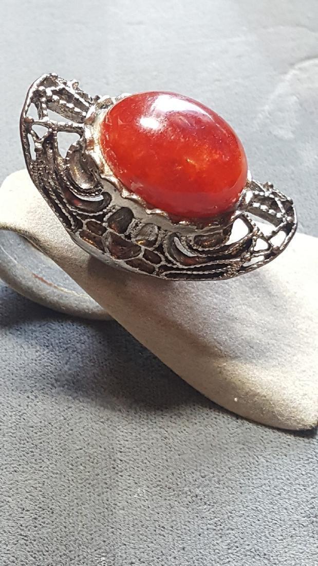 Vtg Carnelian Knuckle Ring - 2