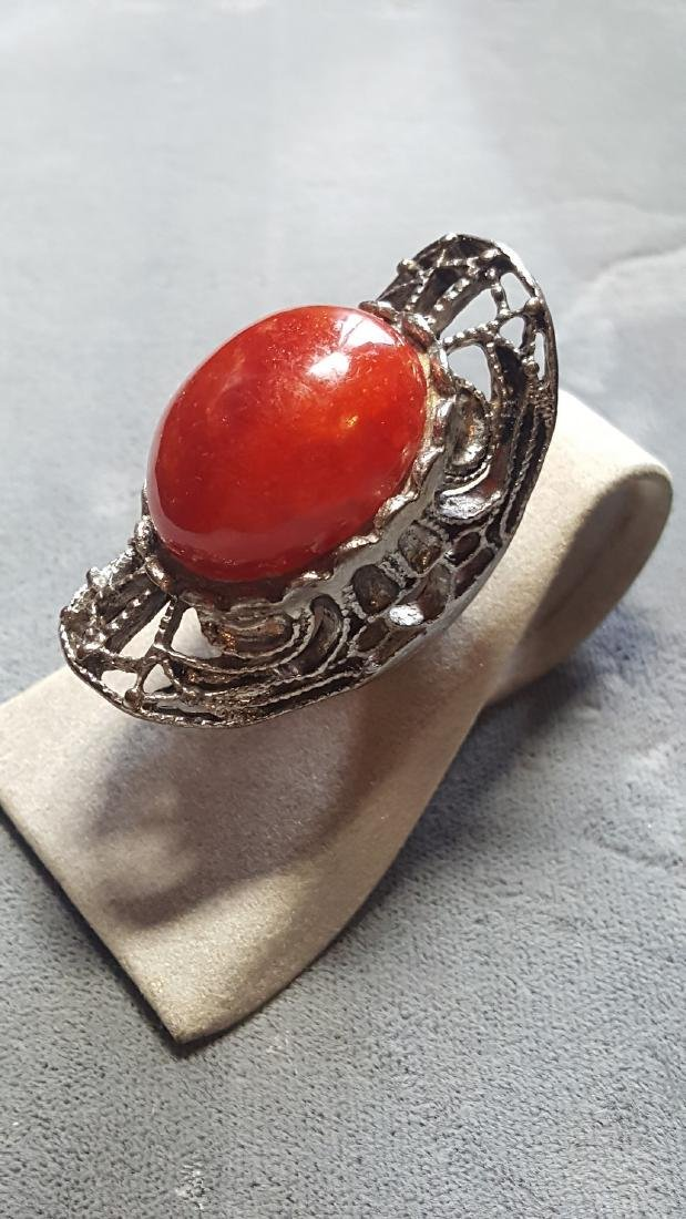 Vtg Carnelian Knuckle Ring - 3