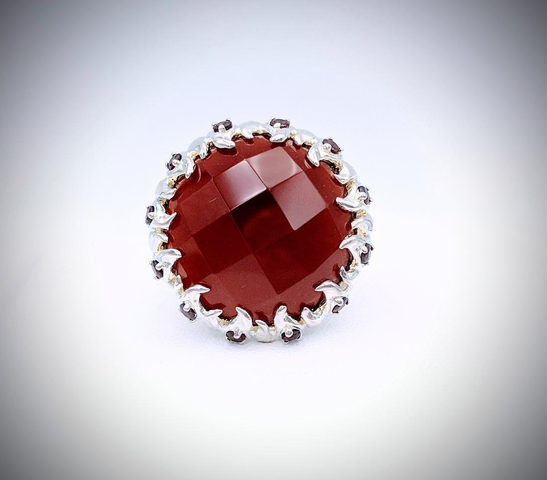 Sterling Silver Carnelian, and Red Garnet Ring
