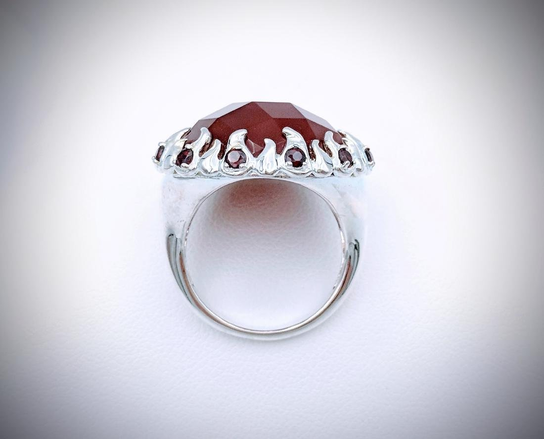 Sterling Silver Carnelian, and Red Garnet Ring - 2
