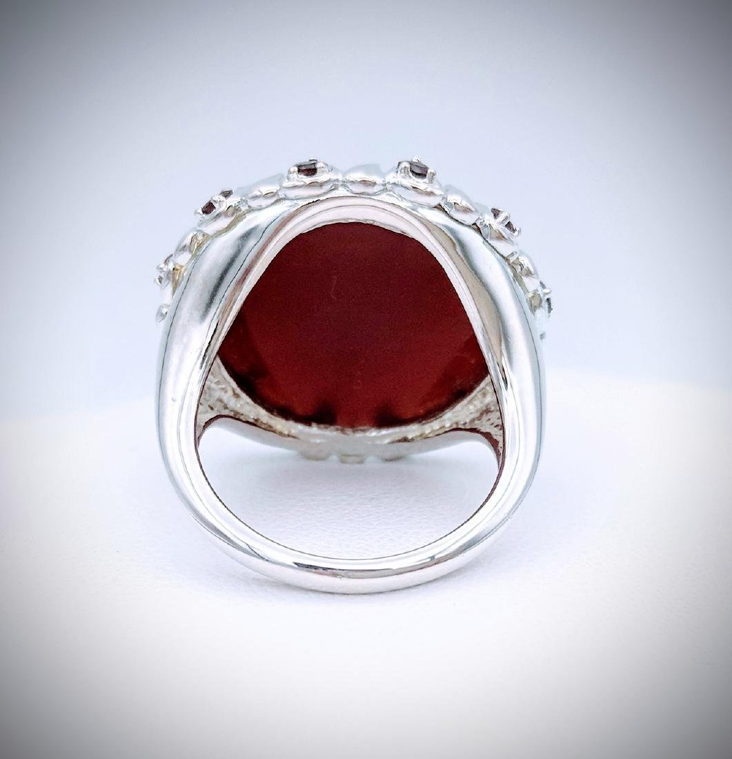 Sterling Silver Carnelian, and Red Garnet Ring - 3