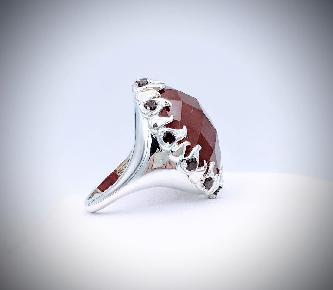 Sterling Silver Carnelian, and Red Garnet Ring - 4