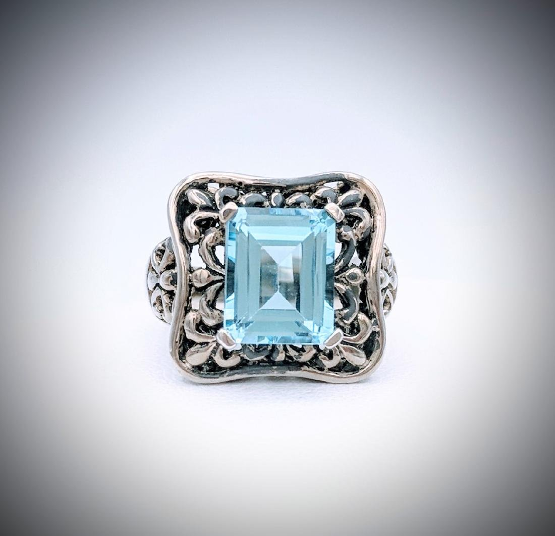 Sterling Silver Antique Style Blue Topaz Ring