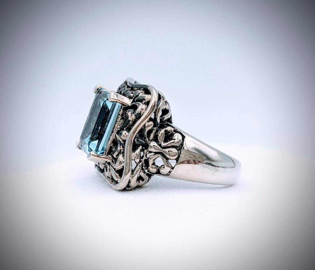Sterling Silver Antique Style Blue Topaz Ring - 4