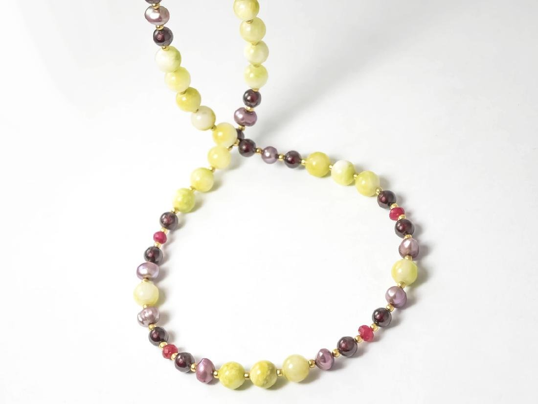 Multi-Gemstone Necklace with Rubies and Pearls
