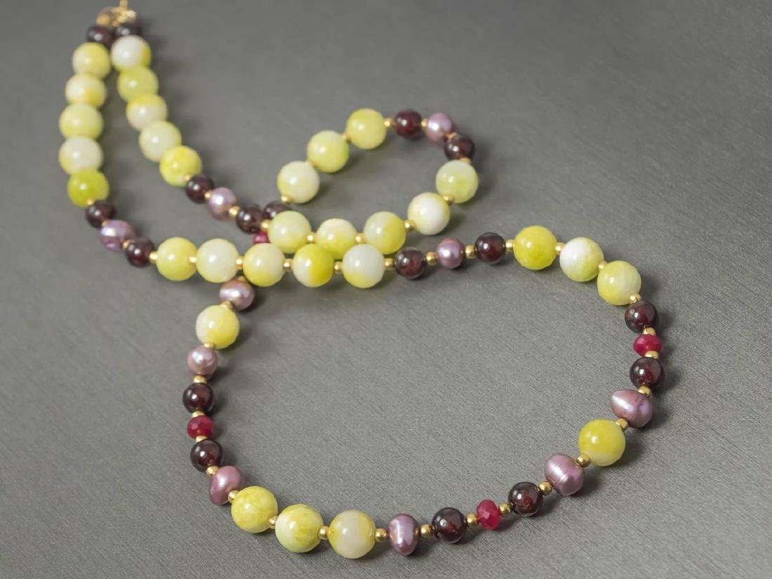 Multi-Gemstone Necklace with Rubies and Pearls - 3