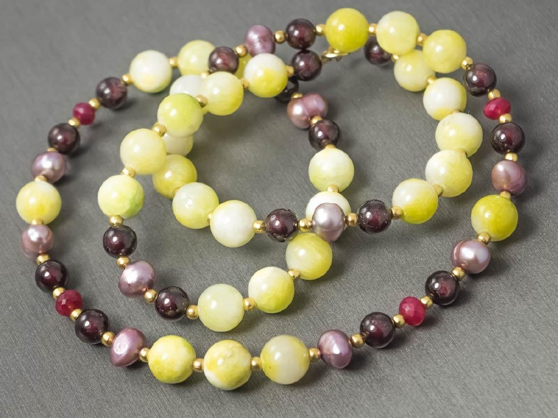 Multi-Gemstone Necklace with Rubies and Pearls - 4