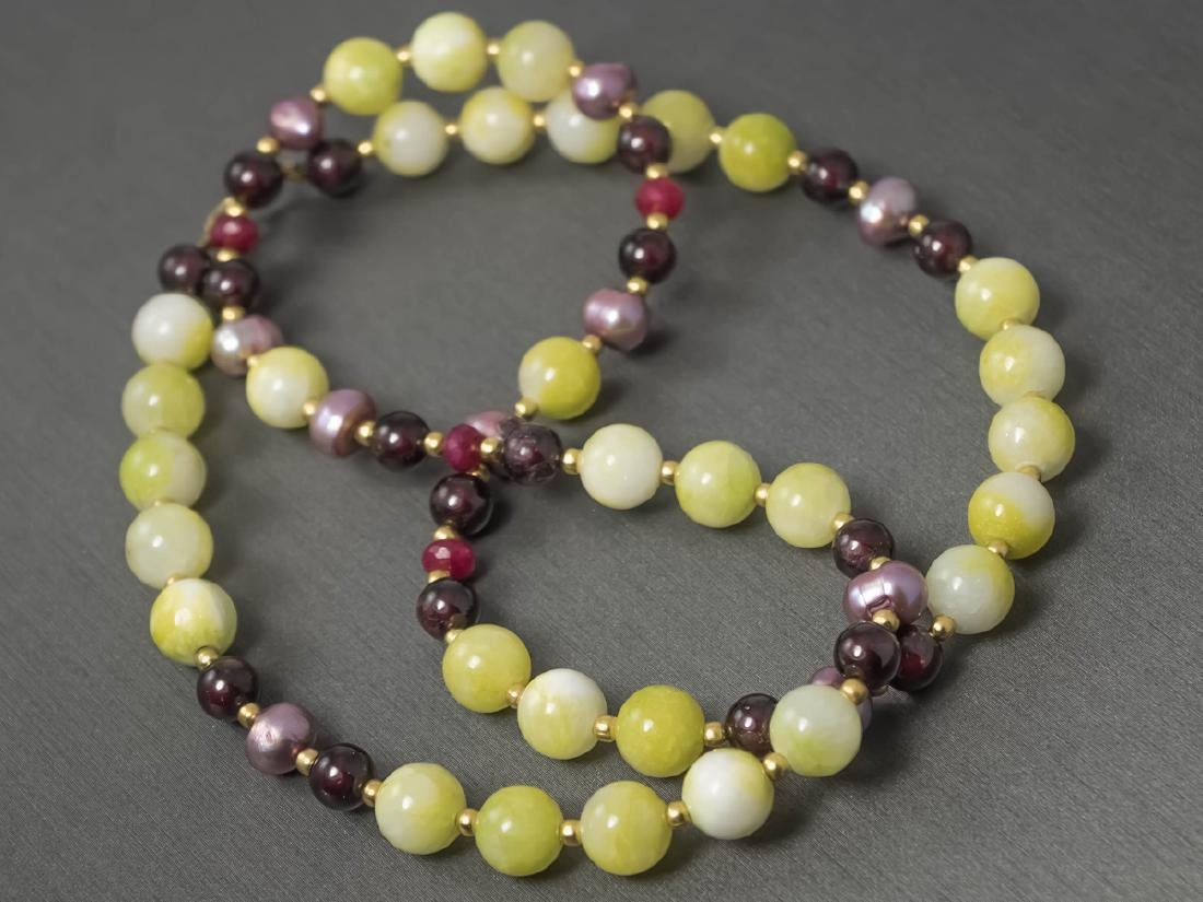 Multi-Gemstone Necklace with Rubies and Pearls - 5