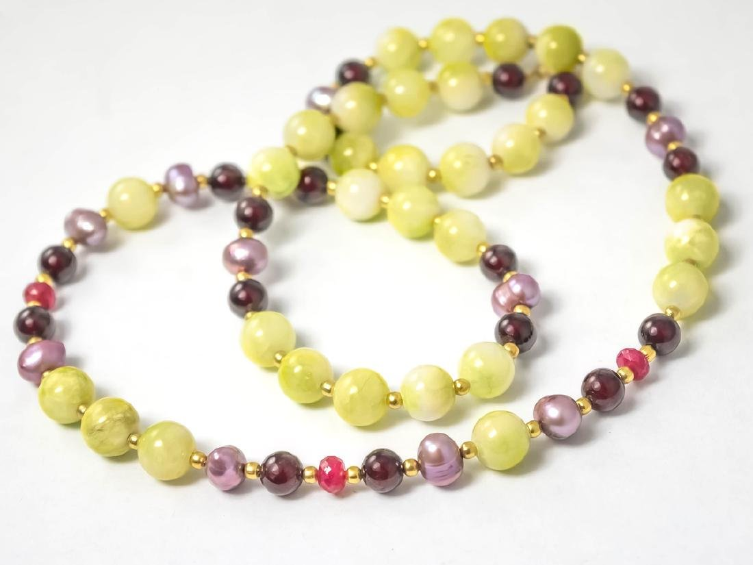 Multi-Gemstone Necklace with Rubies and Pearls - 6