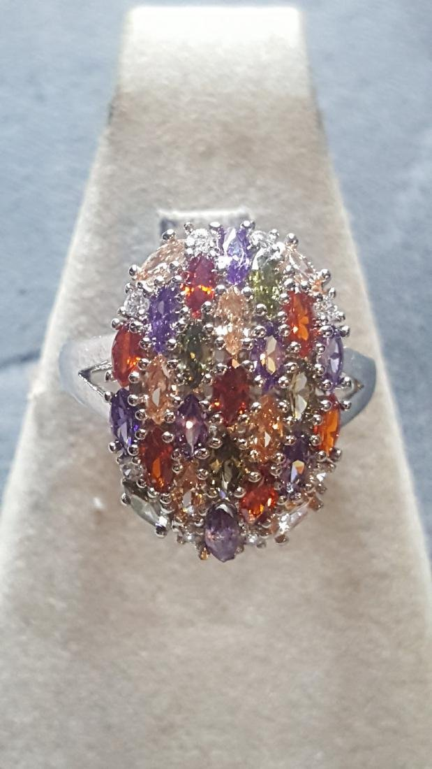 Radiant 925 Multi-Colored Cluster Ring