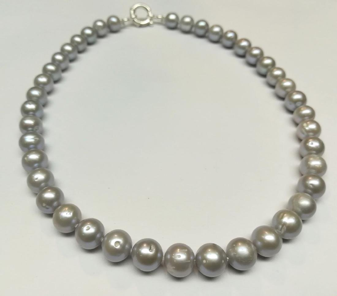 Necklace made of saltwater cultured pearls with silver - 2