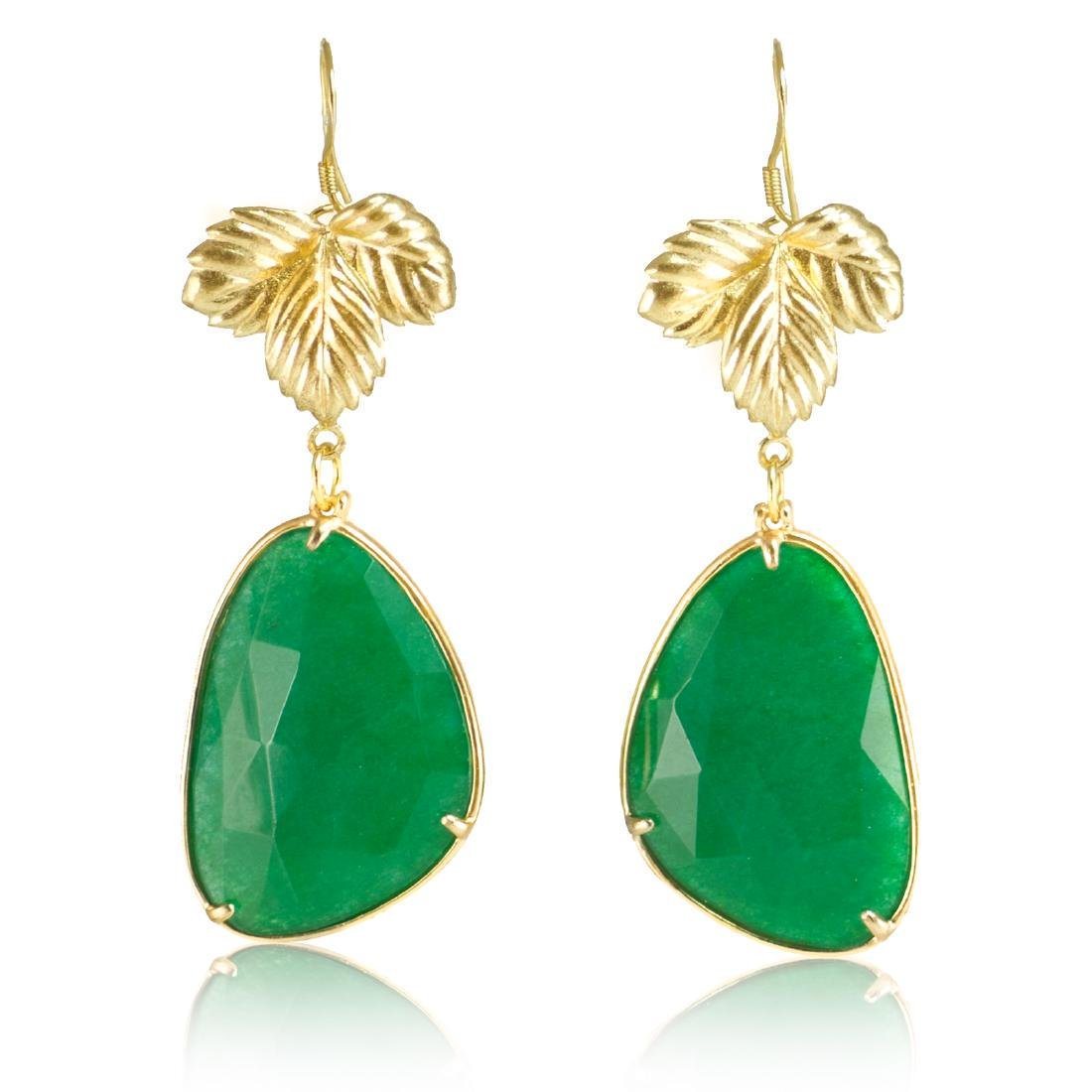 Emerald Green Jade Leaf Earrings