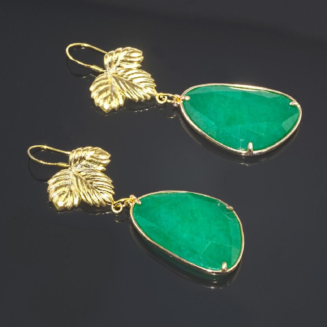 Emerald Green Jade Leaf Earrings - 2