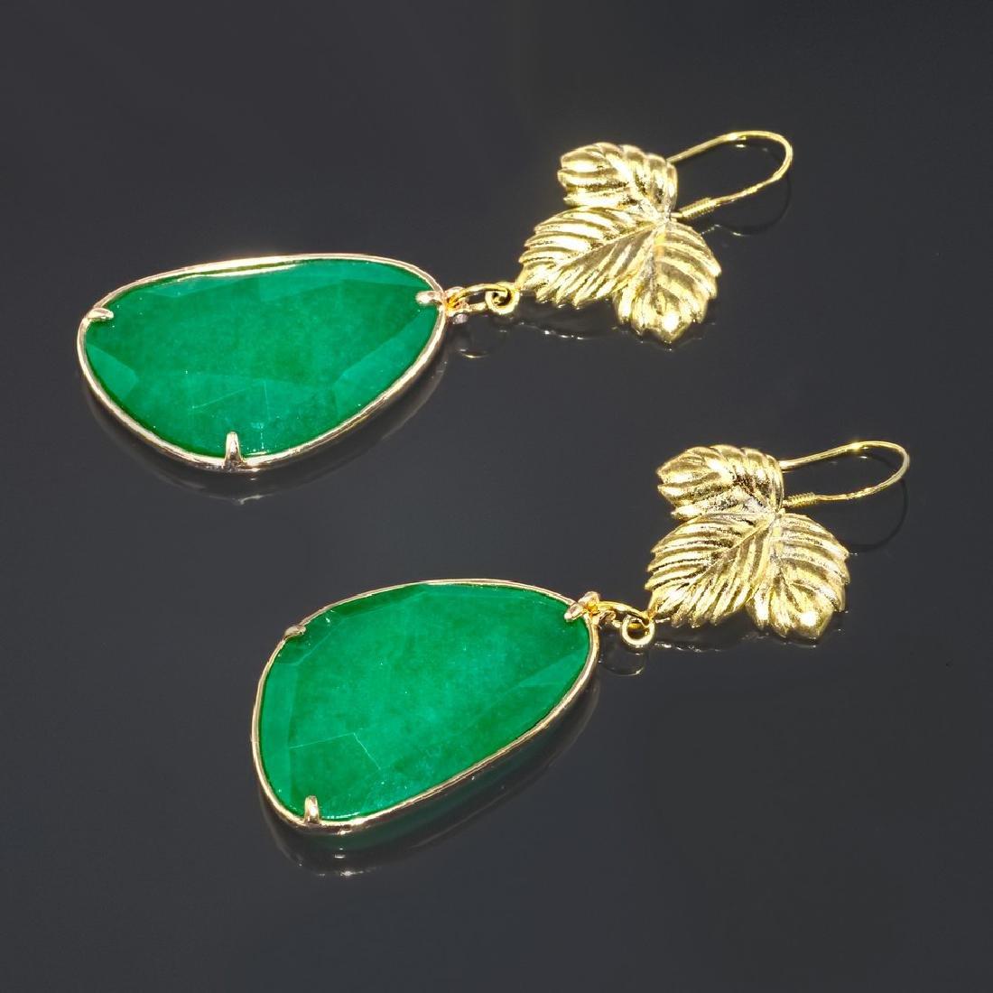 Emerald Green Jade Leaf Earrings - 3