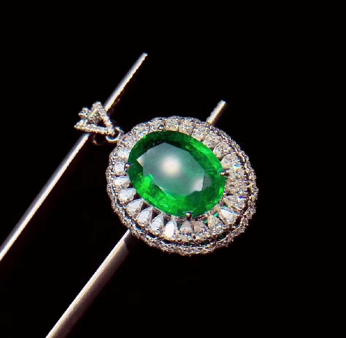 6ct EmeraldPendantin 18kt White Gold - 4
