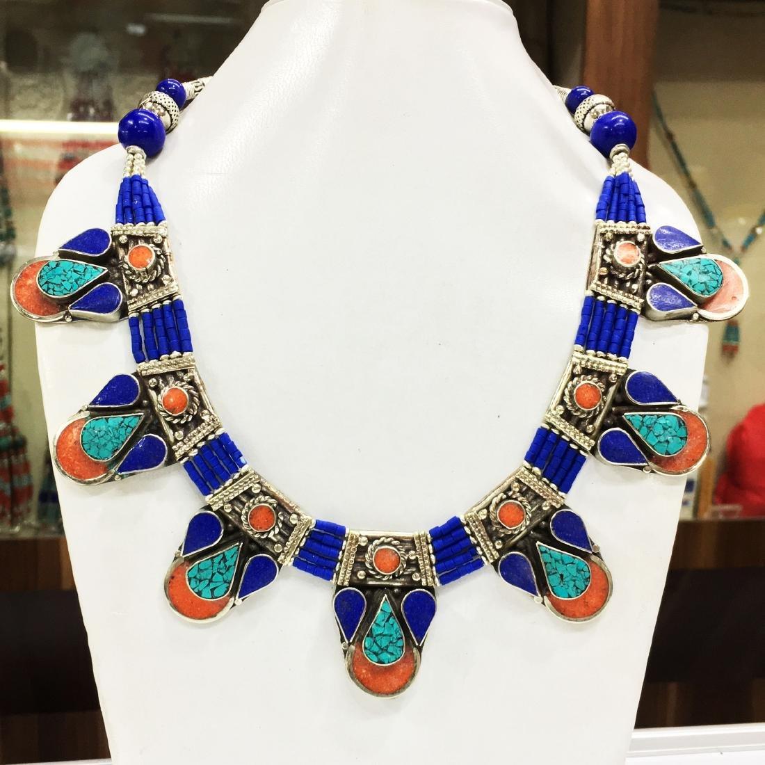 Natural Tibetan Coral & Lapis Beautiful Necklace