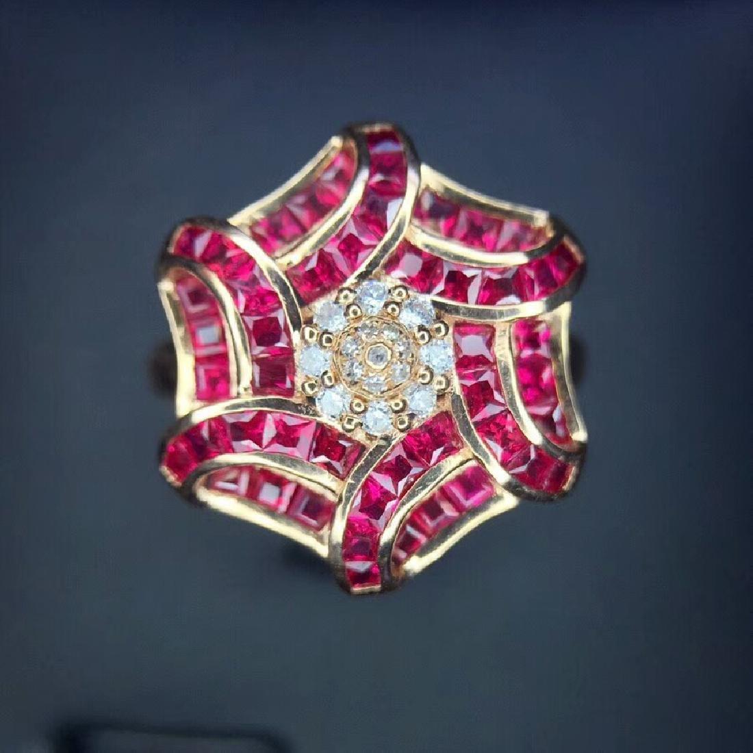 1.65 CTW Ruby & VS Diamond Ring 18K