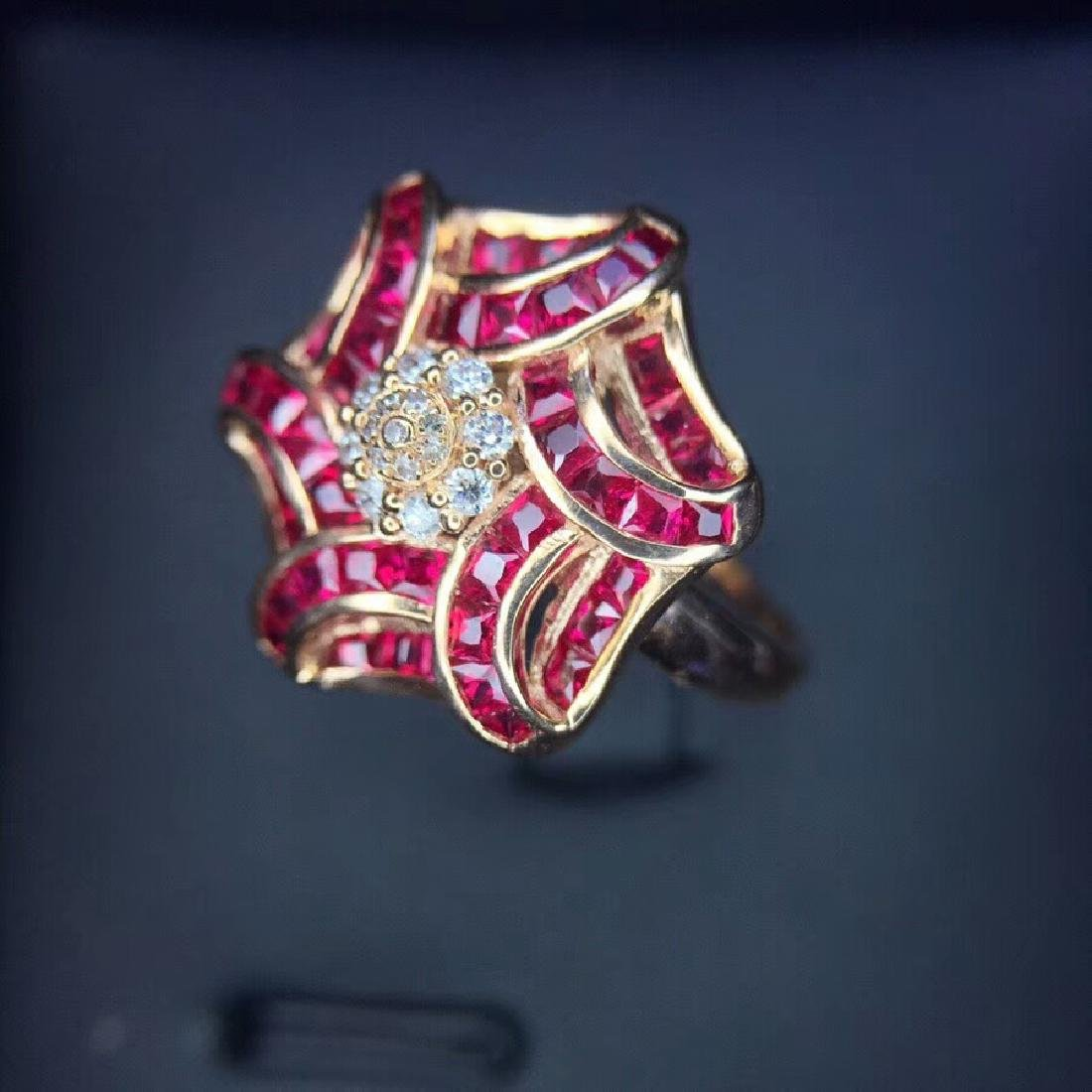 1.65 CTW Ruby & VS Diamond Ring 18K - 2