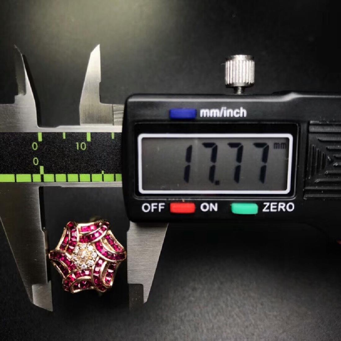 1.65 CTW Ruby & VS Diamond Ring 18K - 3