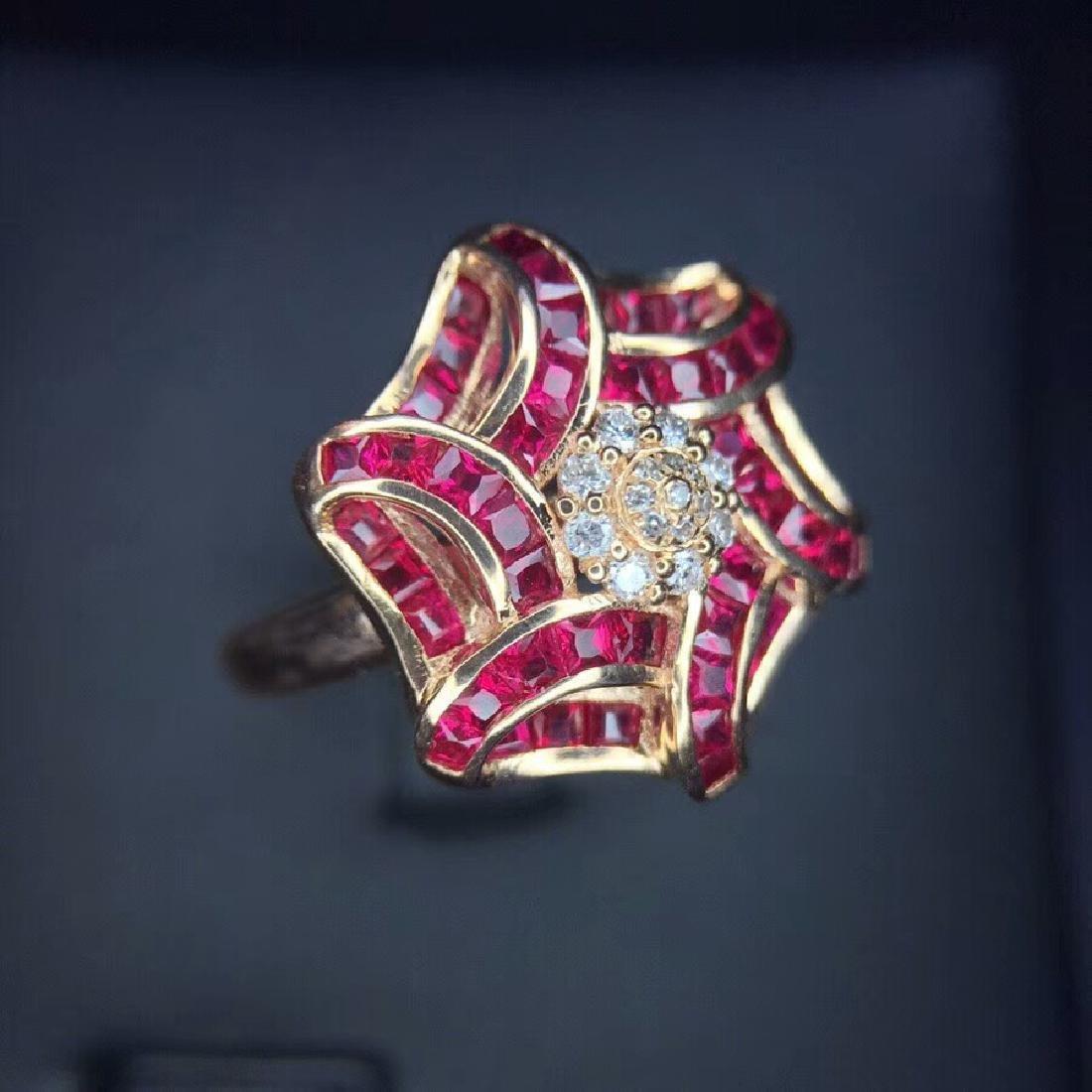 1.65 CTW Ruby & VS Diamond Ring 18K - 5