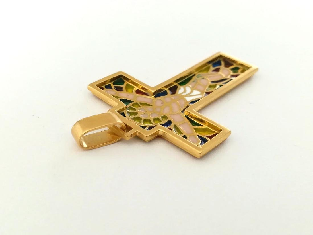 19.2 carats - gold cross with stained glass. - 4