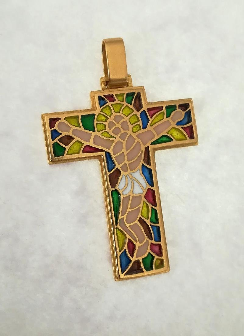 19.2 carats - gold cross with stained glass. - 7