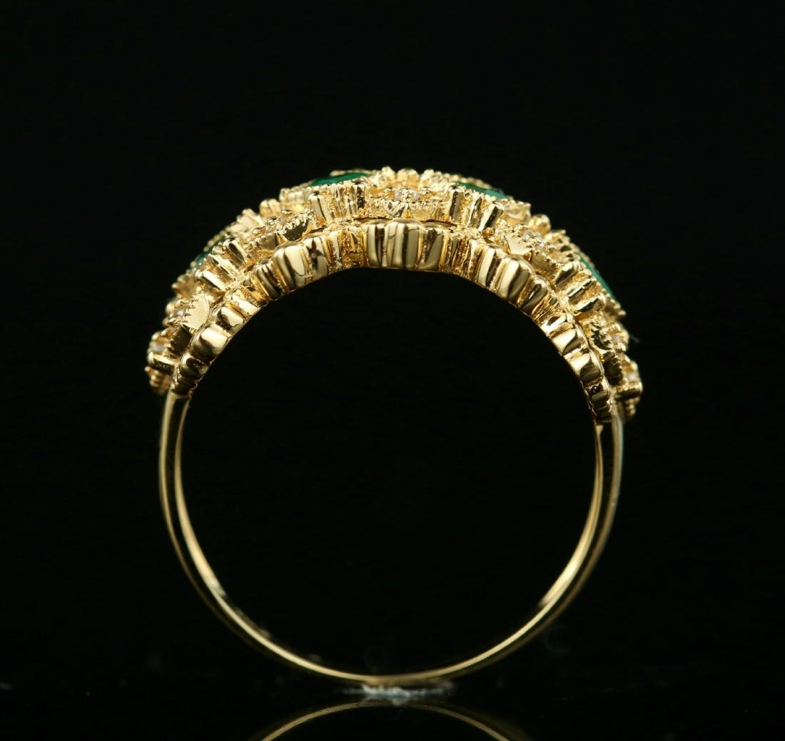 Certified-Exquisite 18KT yellow gold ring with Emerald - 5