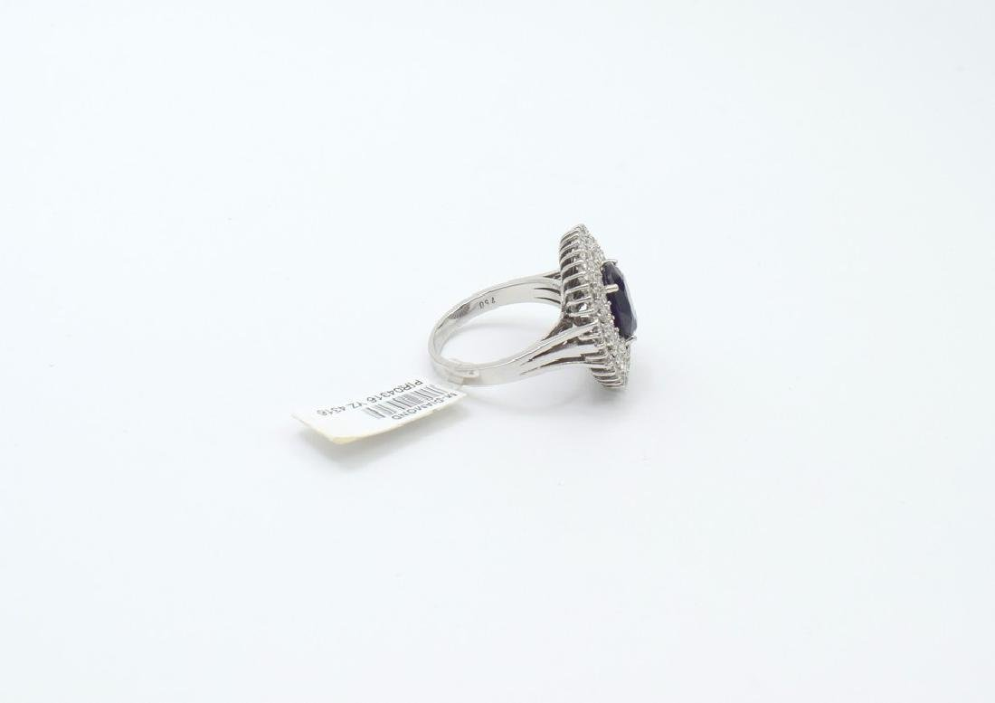 18 carat white gold ring with diamond and sappihire - 7