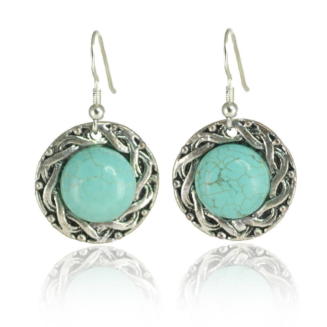 Ethnic Style Turquoise Howlite Earrings